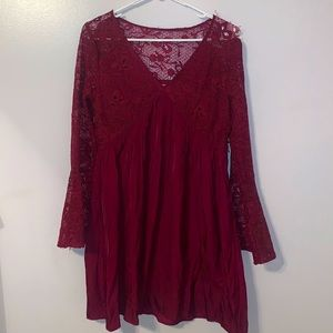 Altar'd State Burgundy Lace Dress